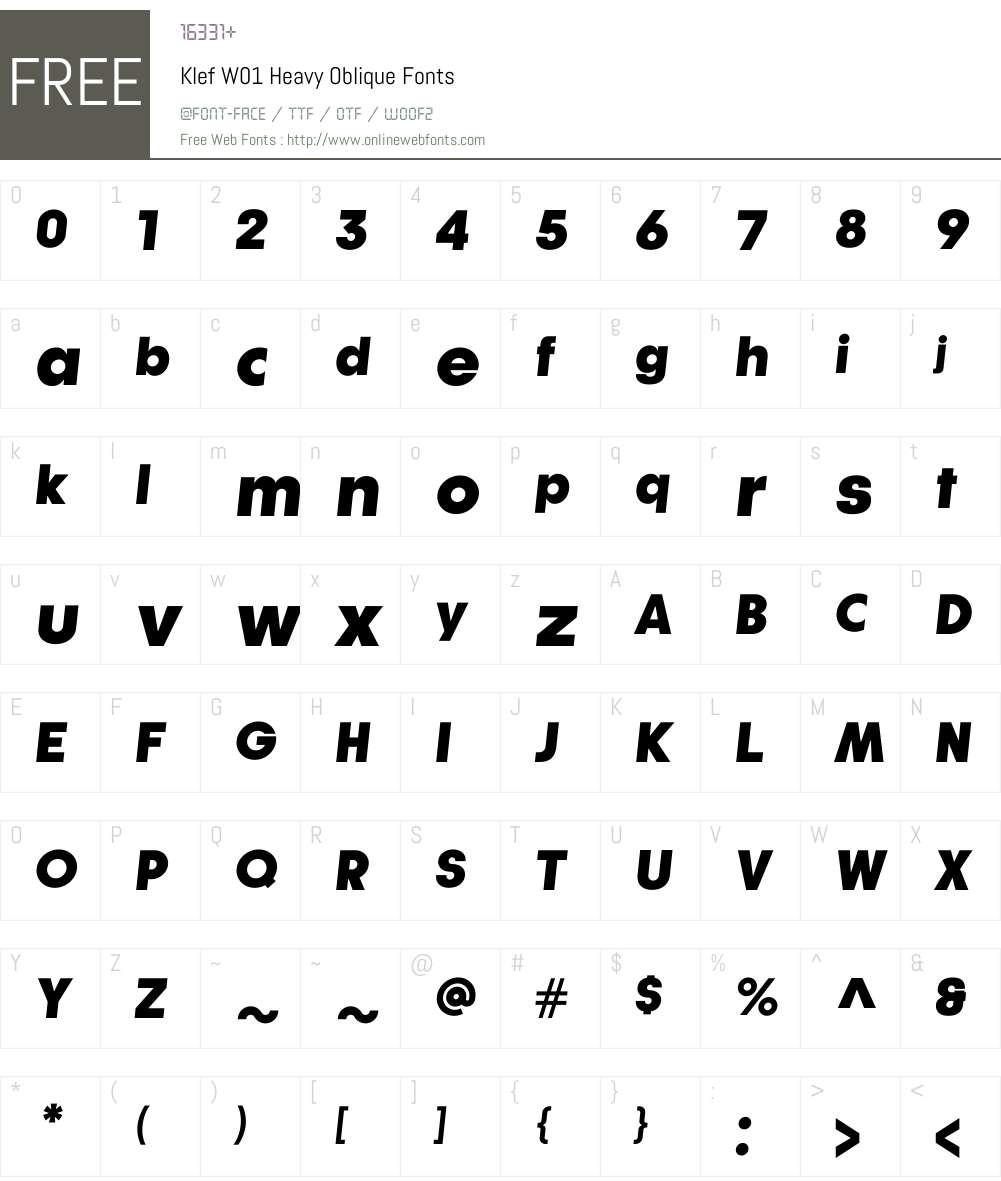 KlefW01-HeavyOblique Font Screenshots