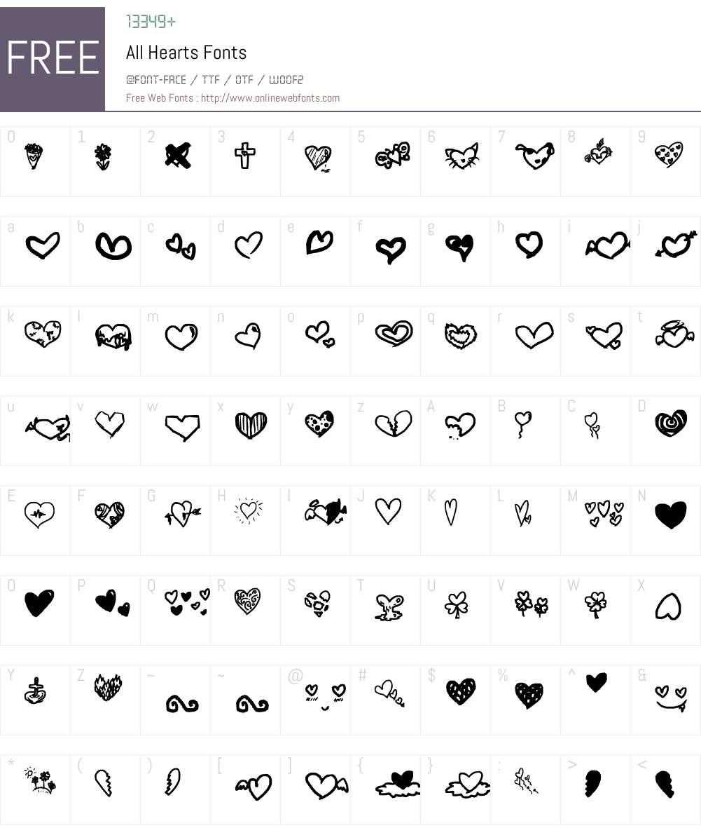 All Hearts Font Screenshots