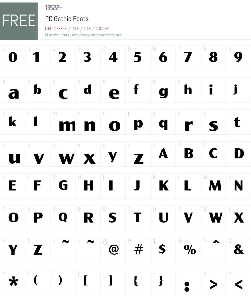 PCGothic Font Screenshots