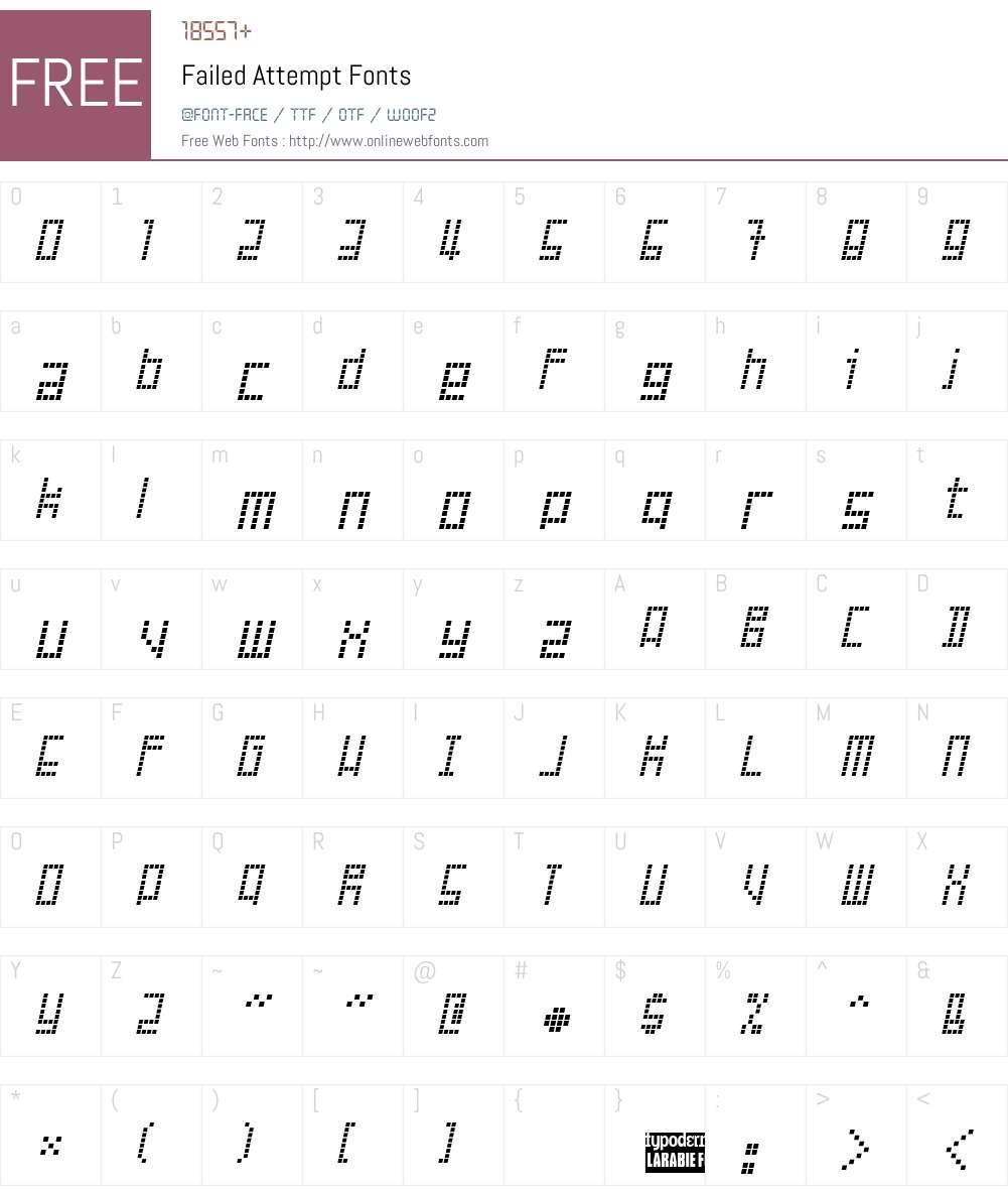 Failed Attempt Font Screenshots