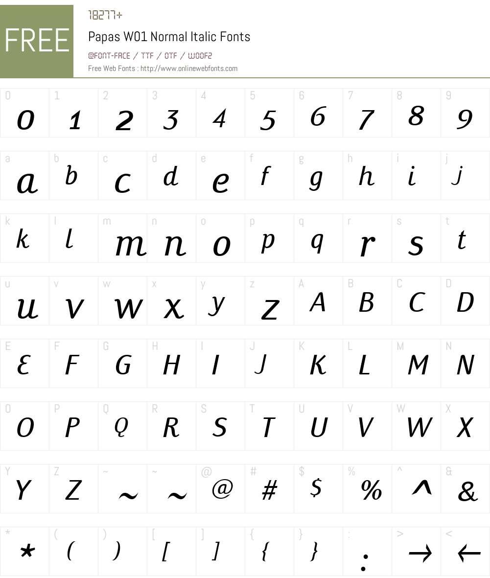 PapasW01-NormalItalic Font Screenshots
