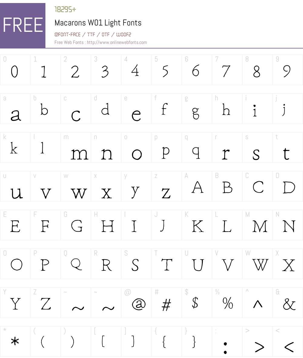 MacaronsW01-Light Font Screenshots