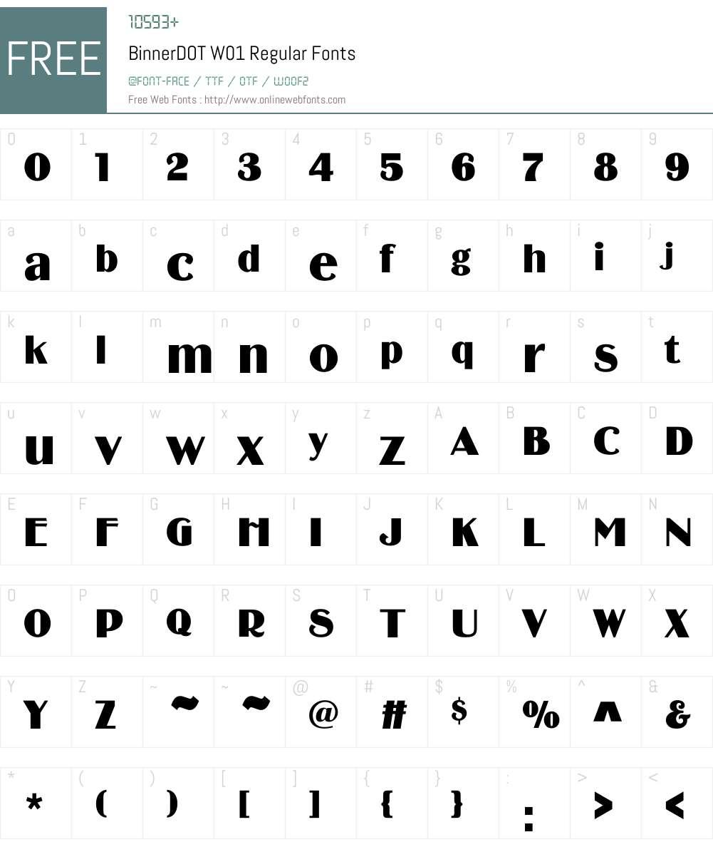 BinnerDOTW01-Regular Font Screenshots