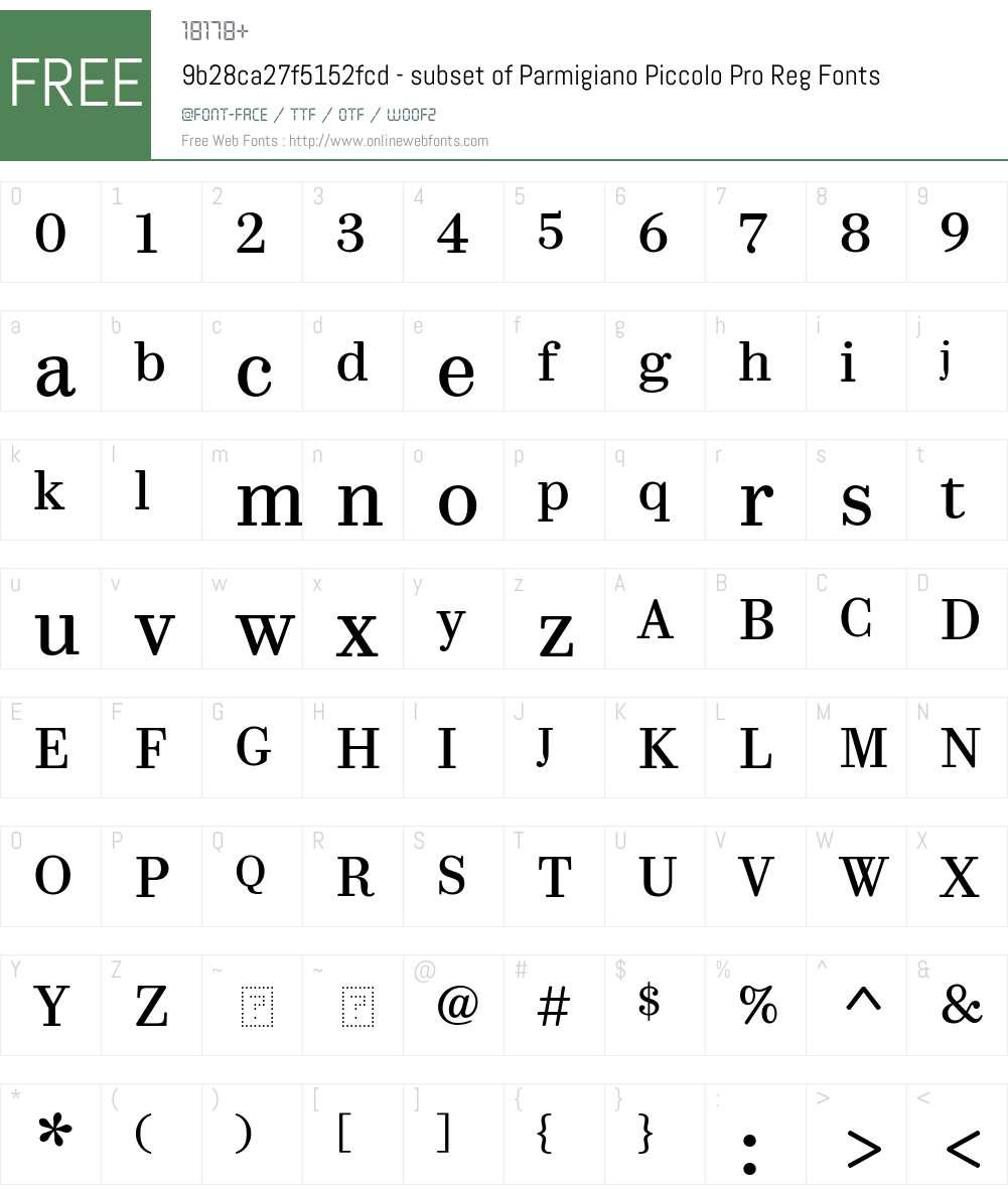 9b28ca27f5152fcd - subset of Parmigiano Piccolo Pro Reg Font Screenshots