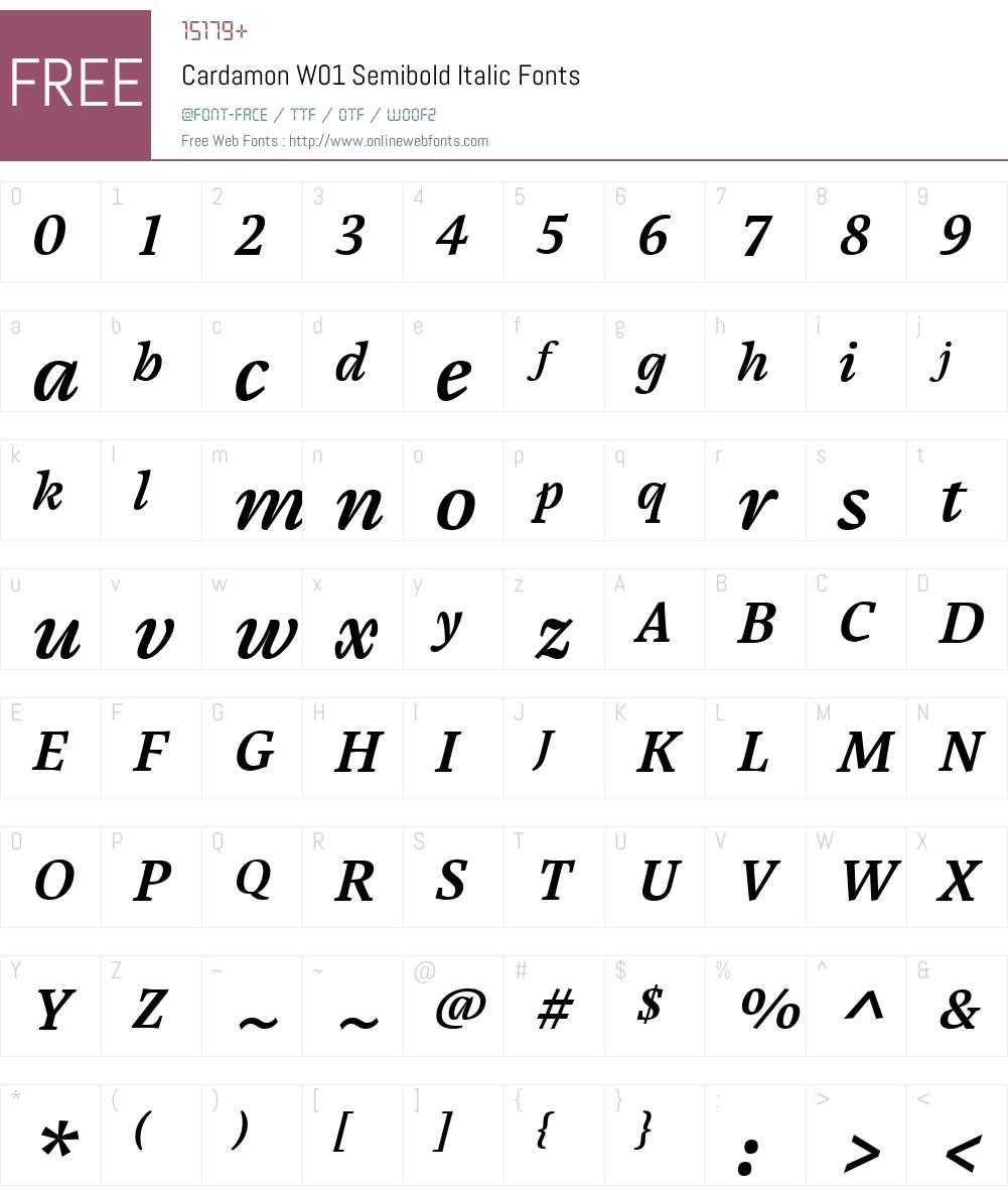 CardamonW01-SemiboldItalic Font Screenshots