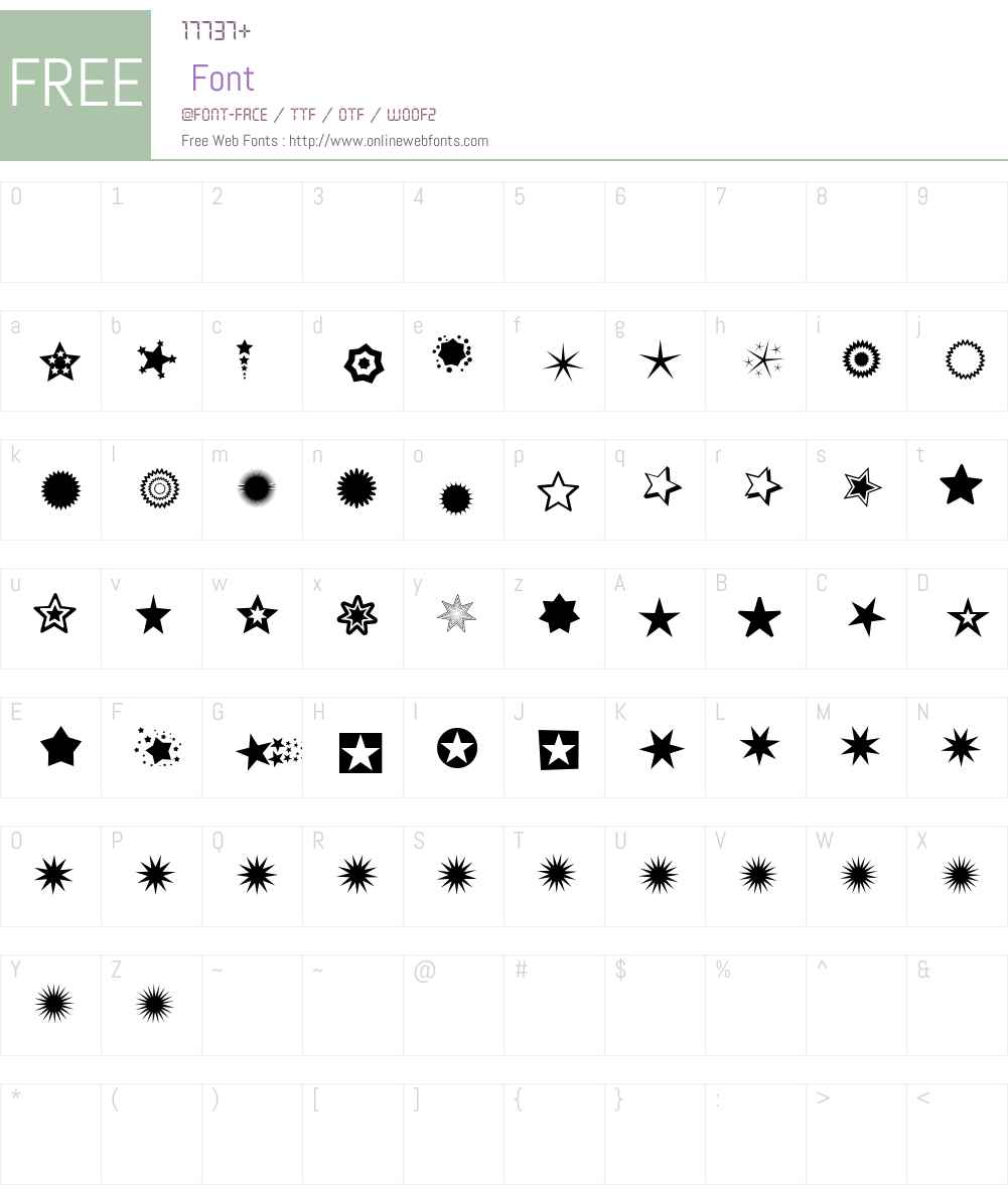 PizzaDude Stars Font Screenshots
