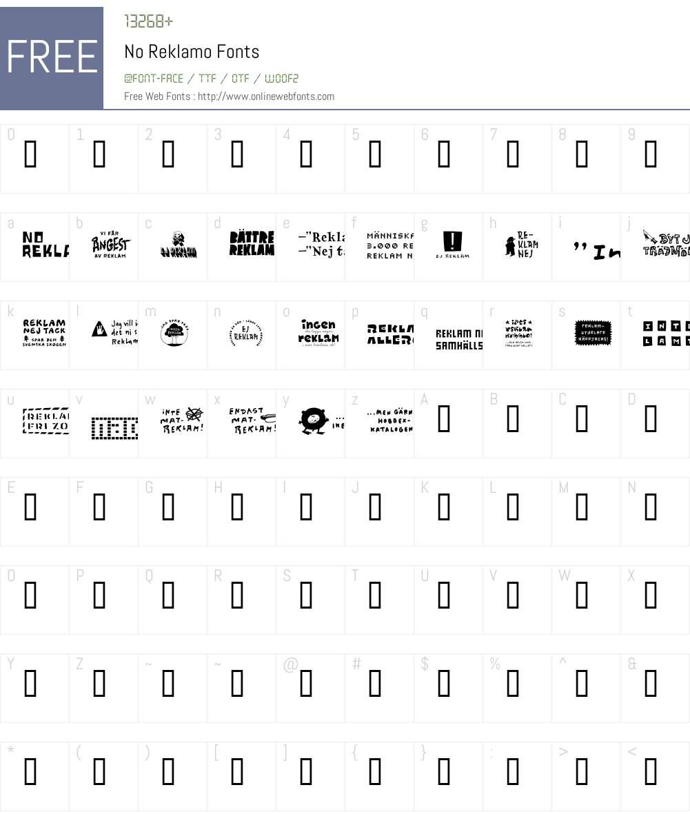 No Reklamo Font Screenshots