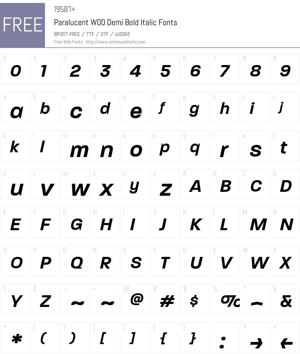 ParalucentW00-DemiBoldIt Font Screenshots