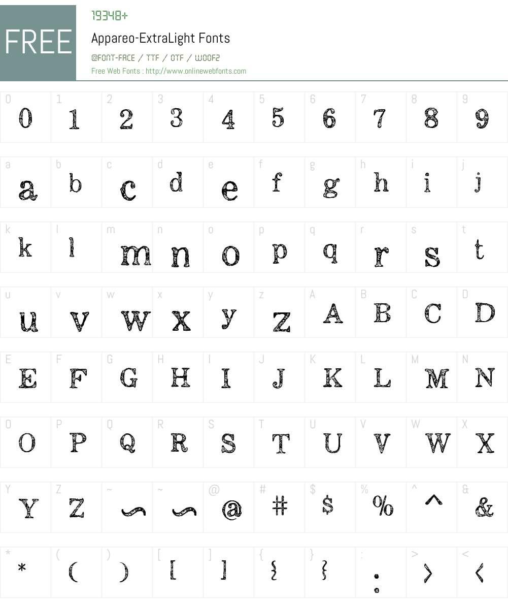 Appareo-ExtraLight Font Screenshots