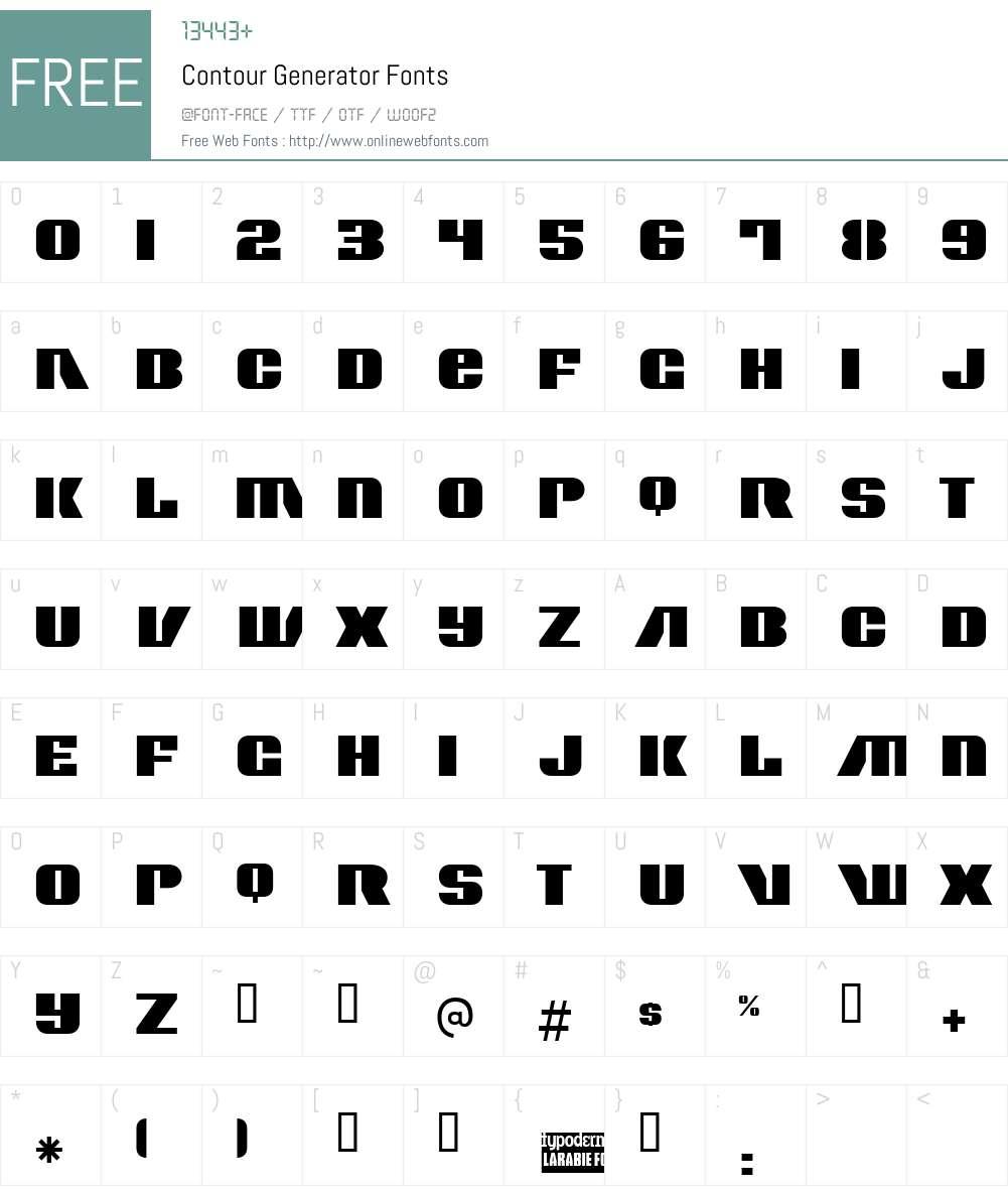 Contour Generator Font Screenshots