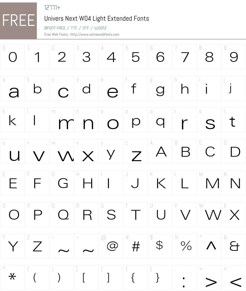UniversNextW04-LightExt Font Screenshots