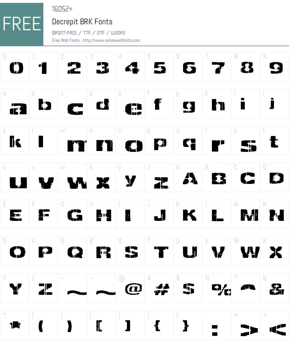 Decrepit BRK Font Screenshots