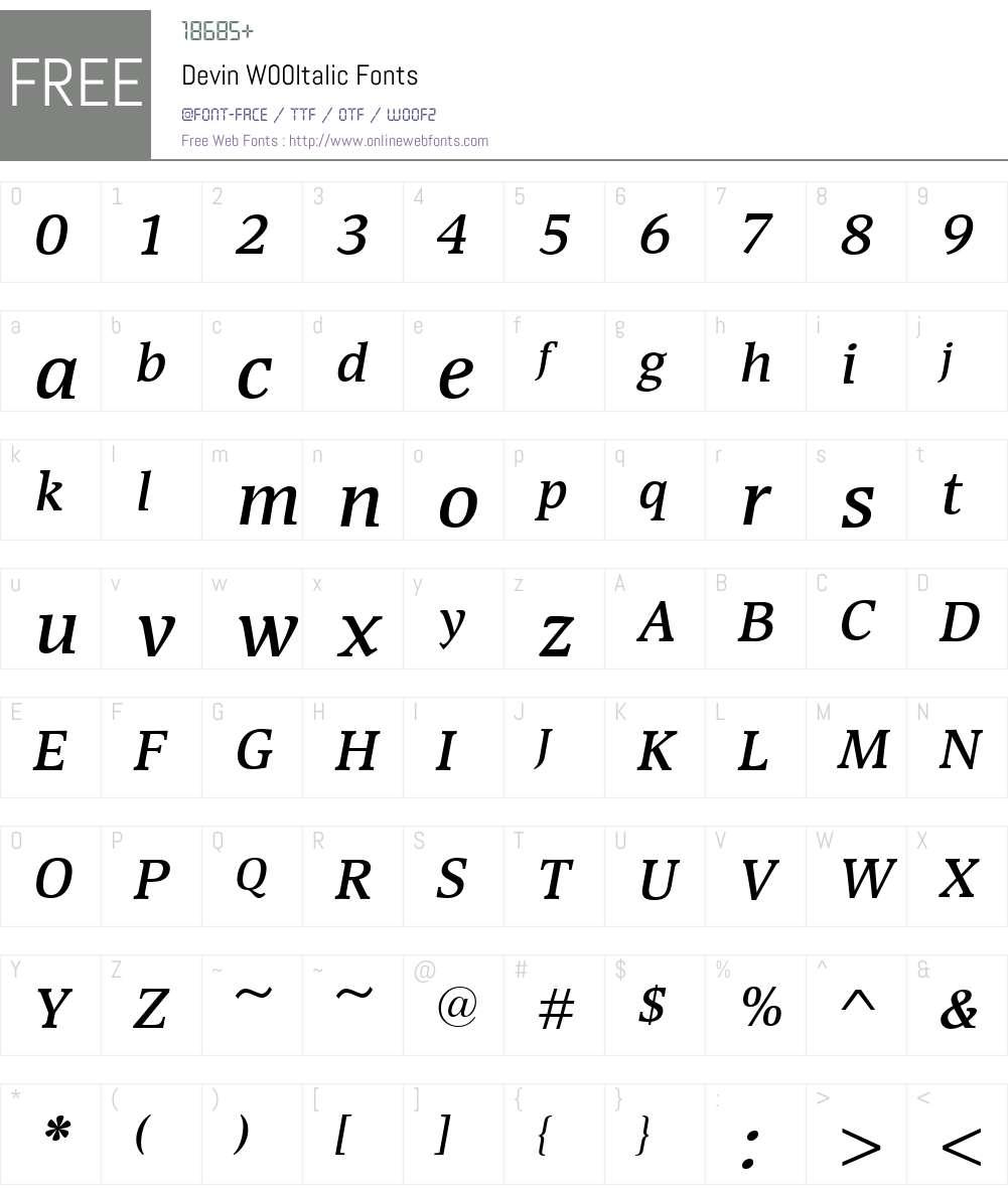 DevinW00-SemiboldItalic Font Screenshots