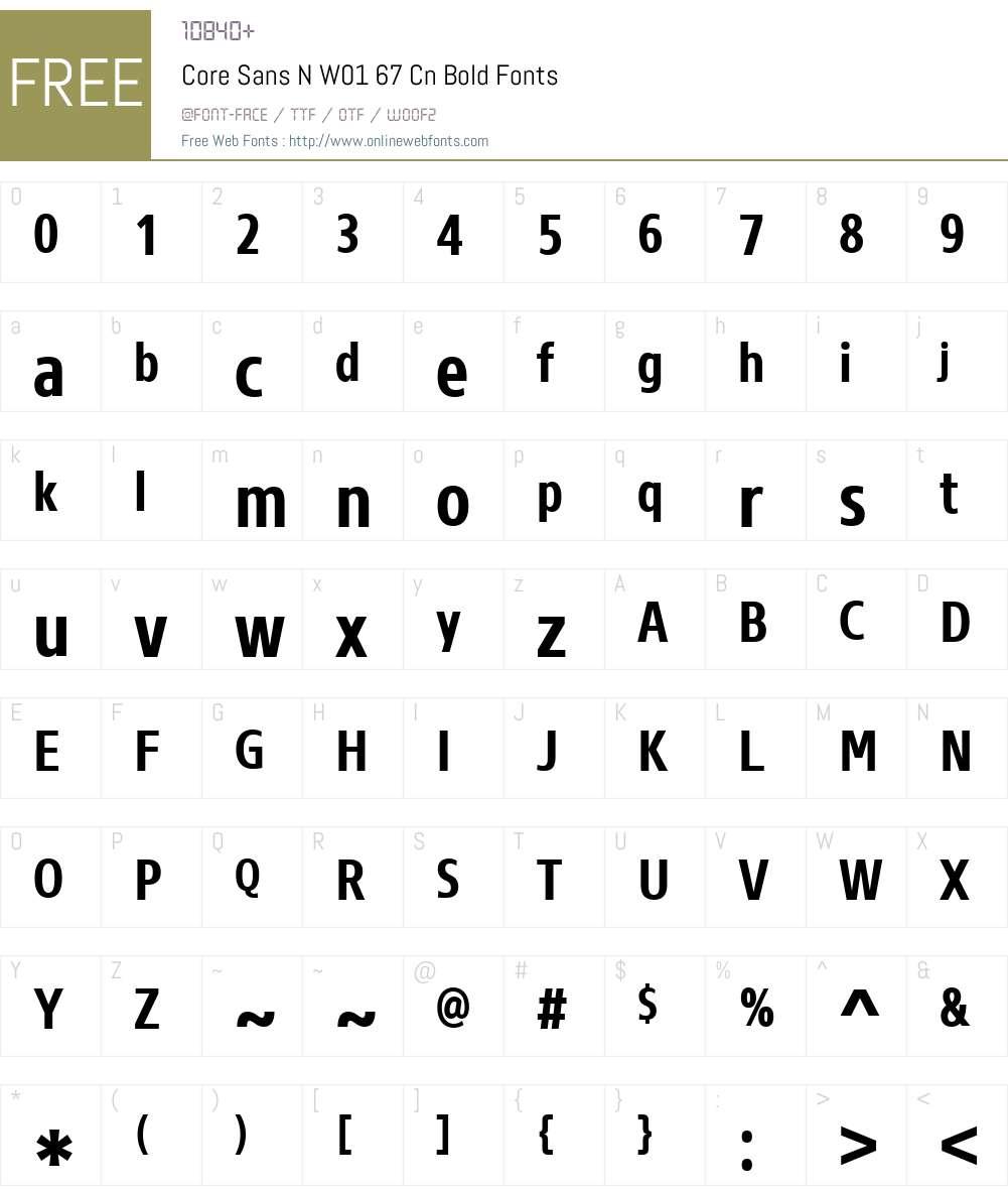 CoreSansNW01-67CnBold Font Screenshots
