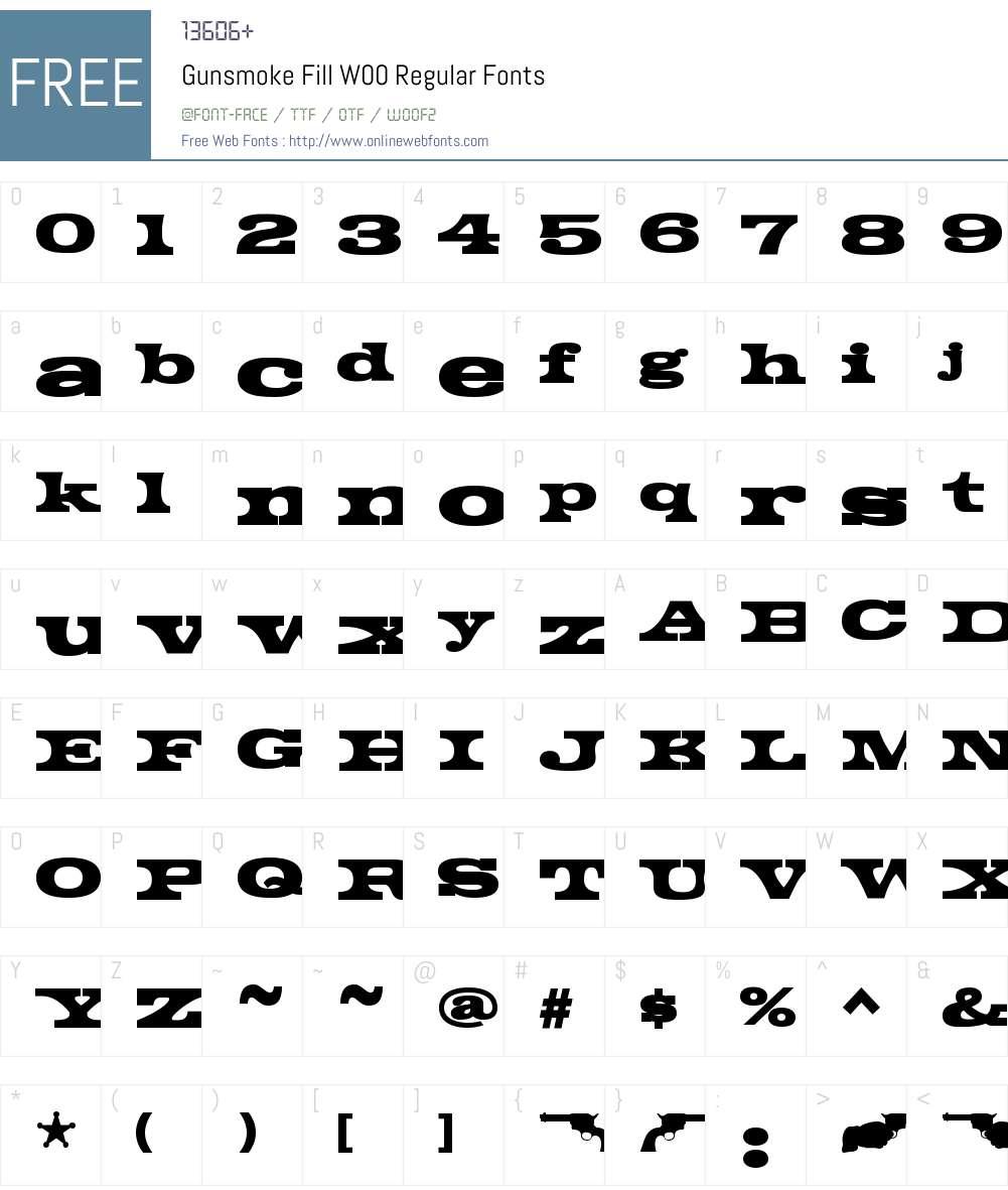 GunsmokeFillW00-Regular Font Screenshots