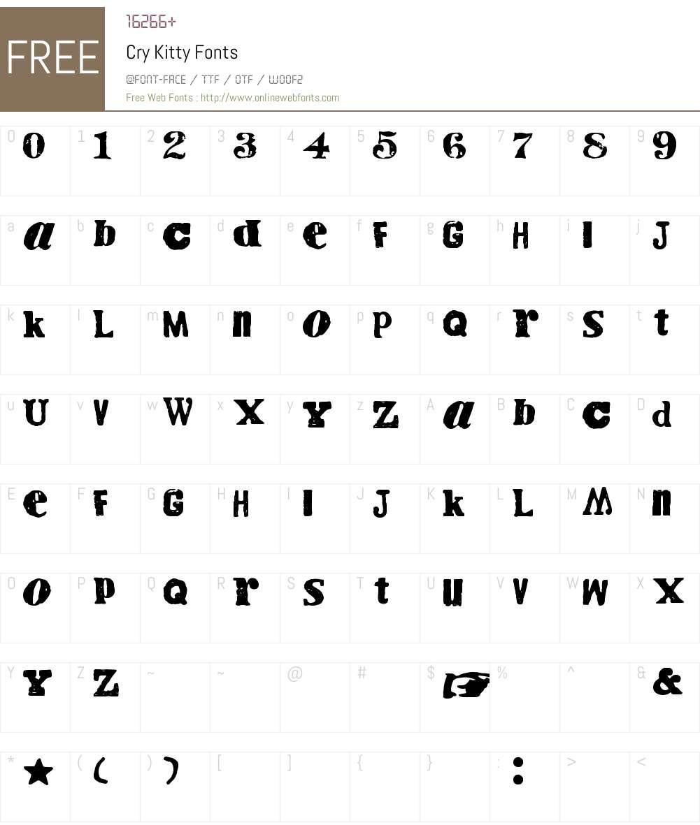Cry Kitty Font Screenshots