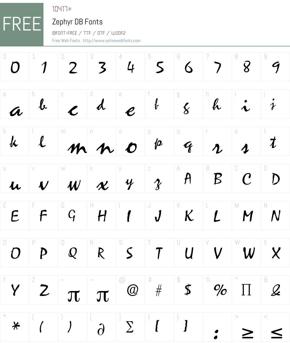 Zephyr DB Font Screenshots