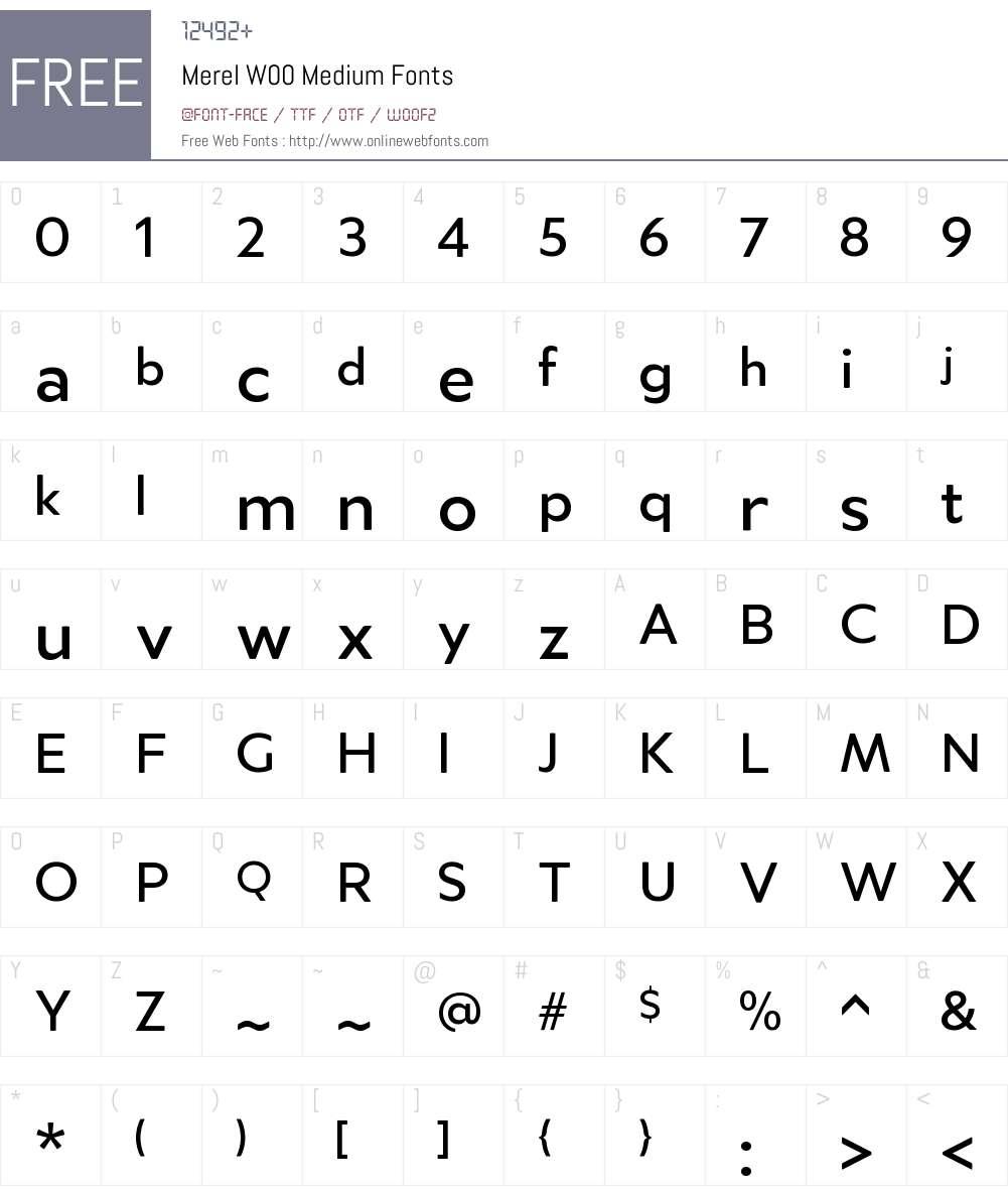 MerelW00-Medium Font Screenshots