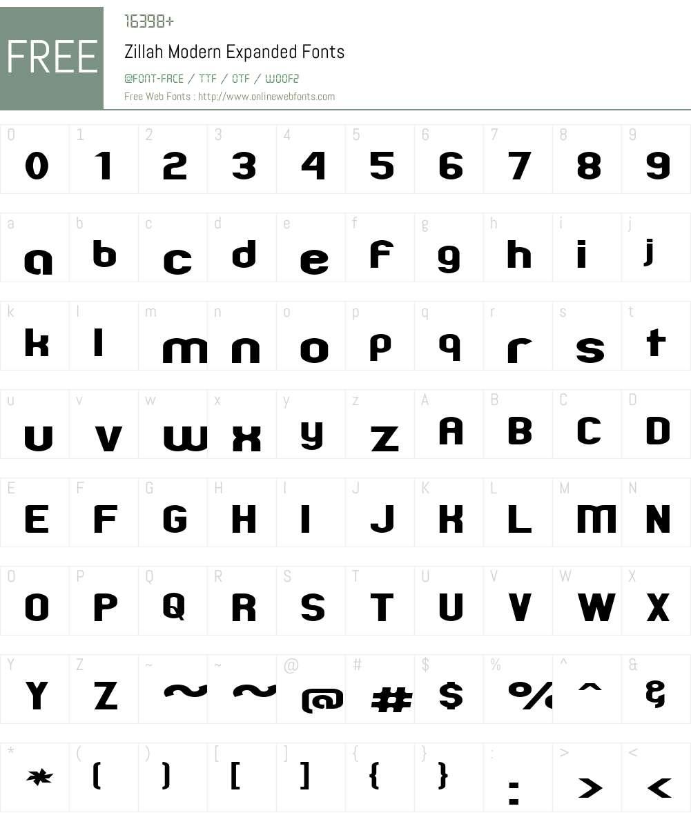 Zillah Modern Expanded Font Screenshots