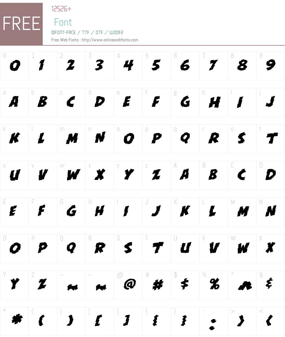 CCKillZoneW00-Italic Font Screenshots