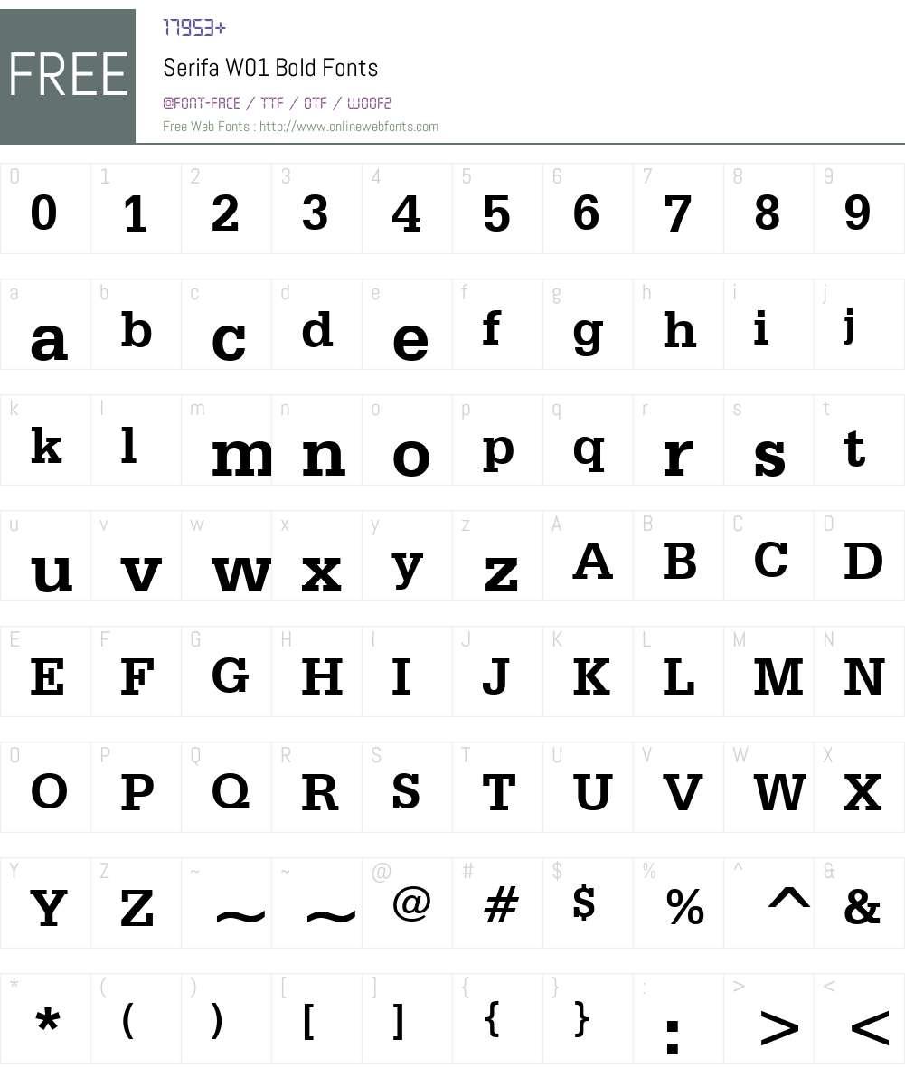 SerifaW01-Bold Font Screenshots