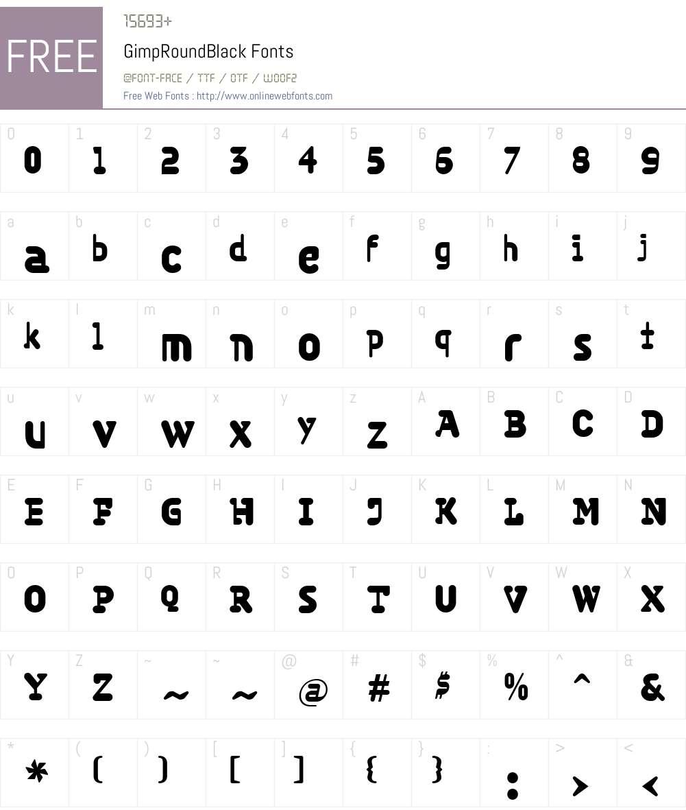 GimpW00-RoundBlack Font Screenshots