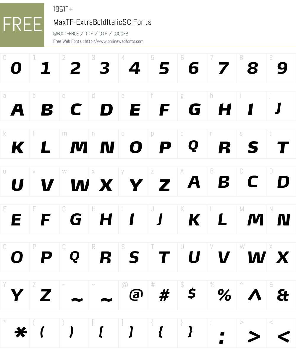 MaxTF-ExtraBoldItalicSC Font Screenshots