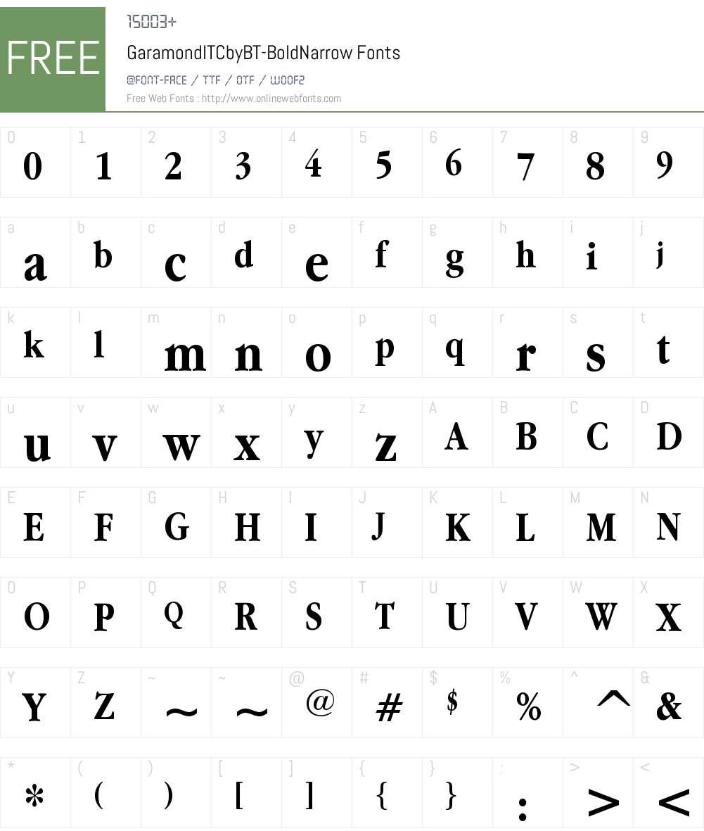 ITC Garamond Narrow Font Screenshots