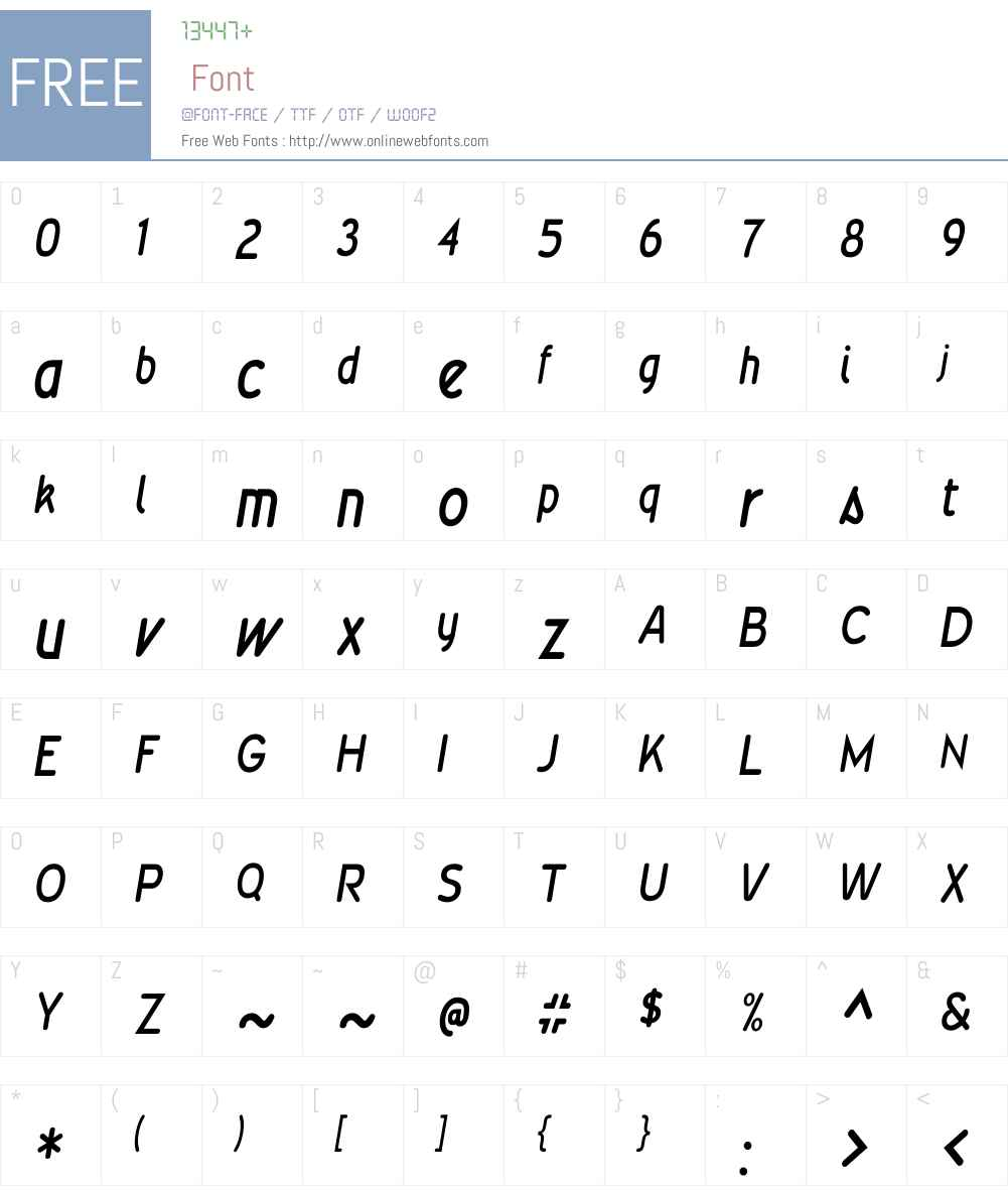 WevliCondensedW90-MediumIt Font Screenshots