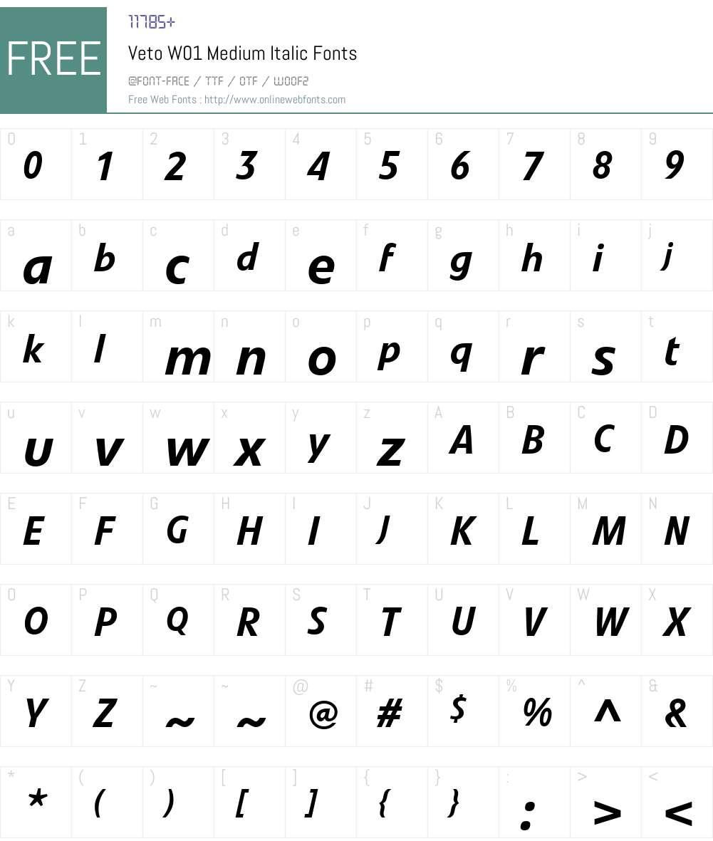 VetoW01-MediumItalic Font Screenshots
