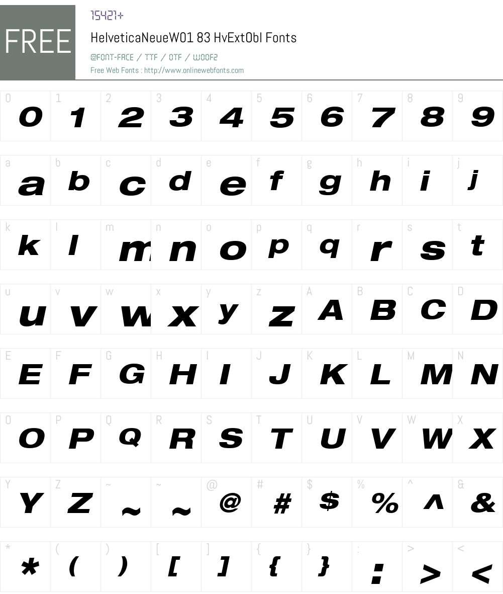 HelveticaNeueW01-HvExtObl Font Screenshots