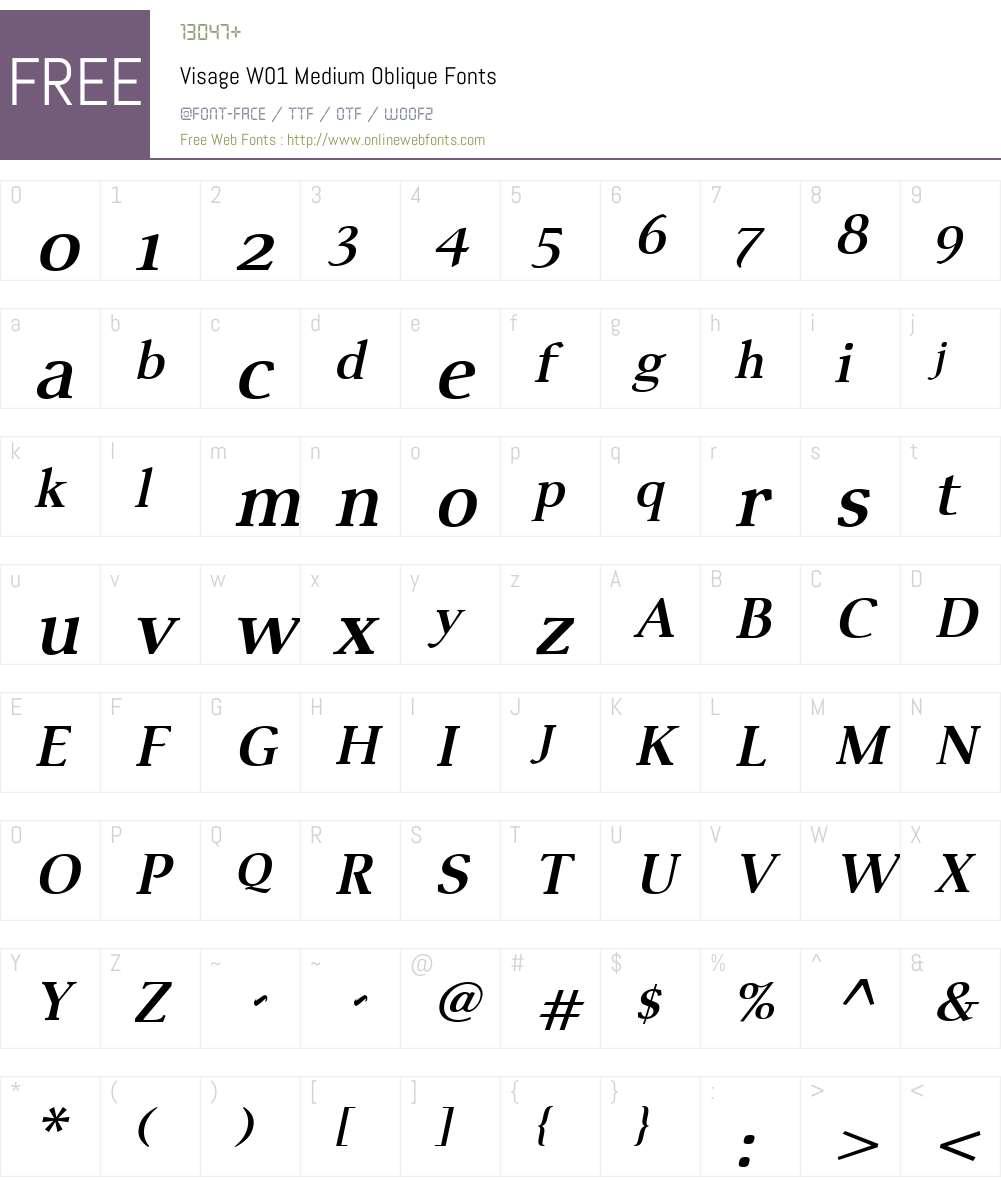 VisageW01-MediumOblique Font Screenshots