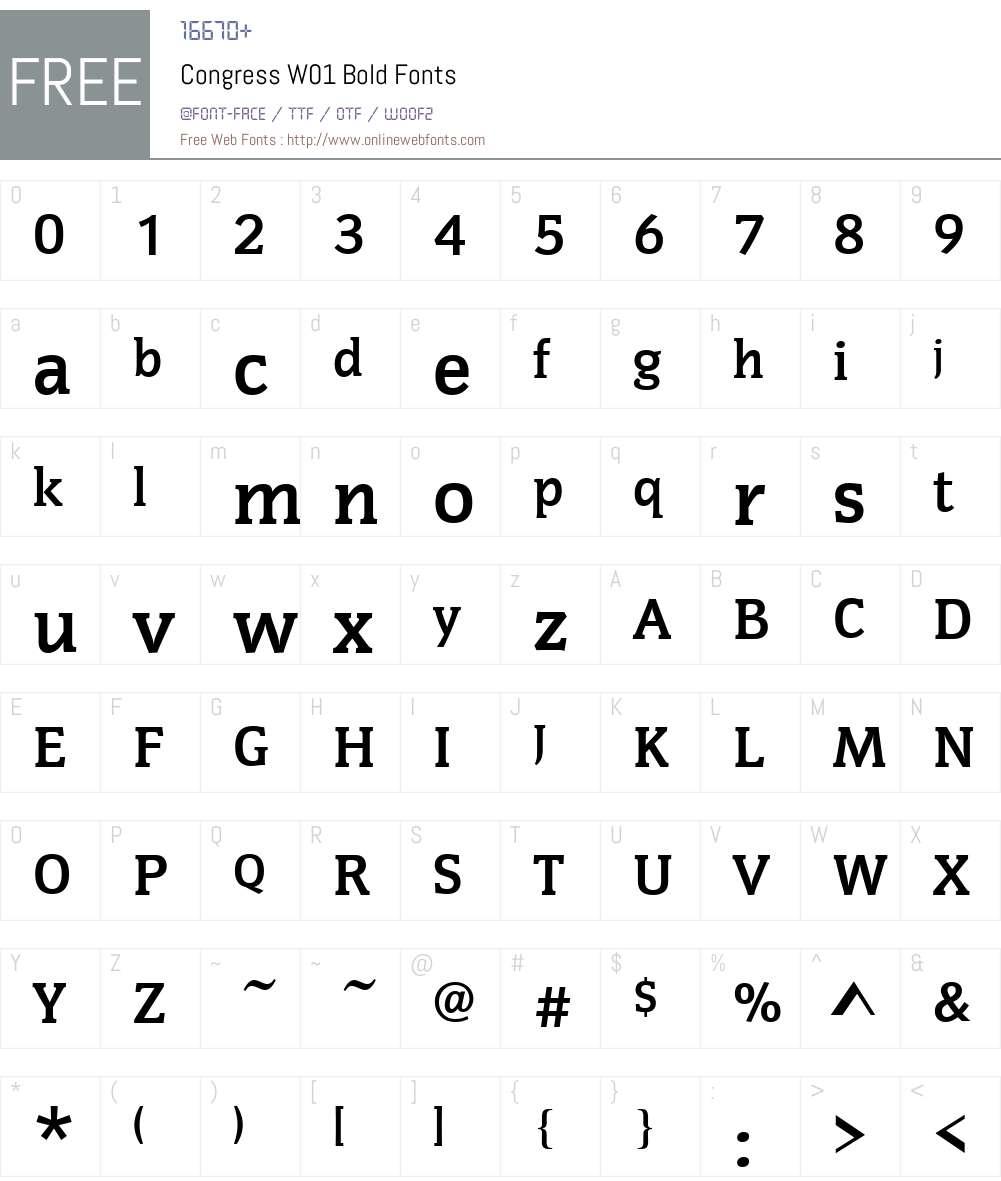 CongressW01-Bold Font Screenshots