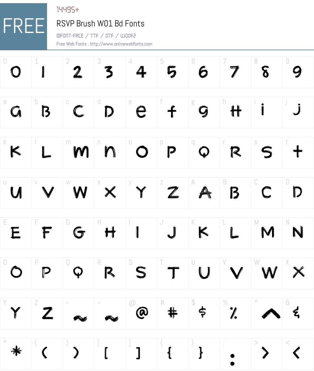 RSVPBrushW01-Bd Font Screenshots