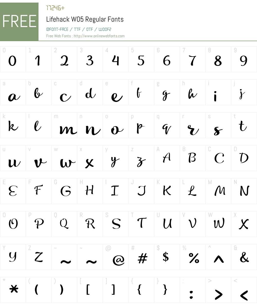 LifehackW05-Regular Font Screenshots