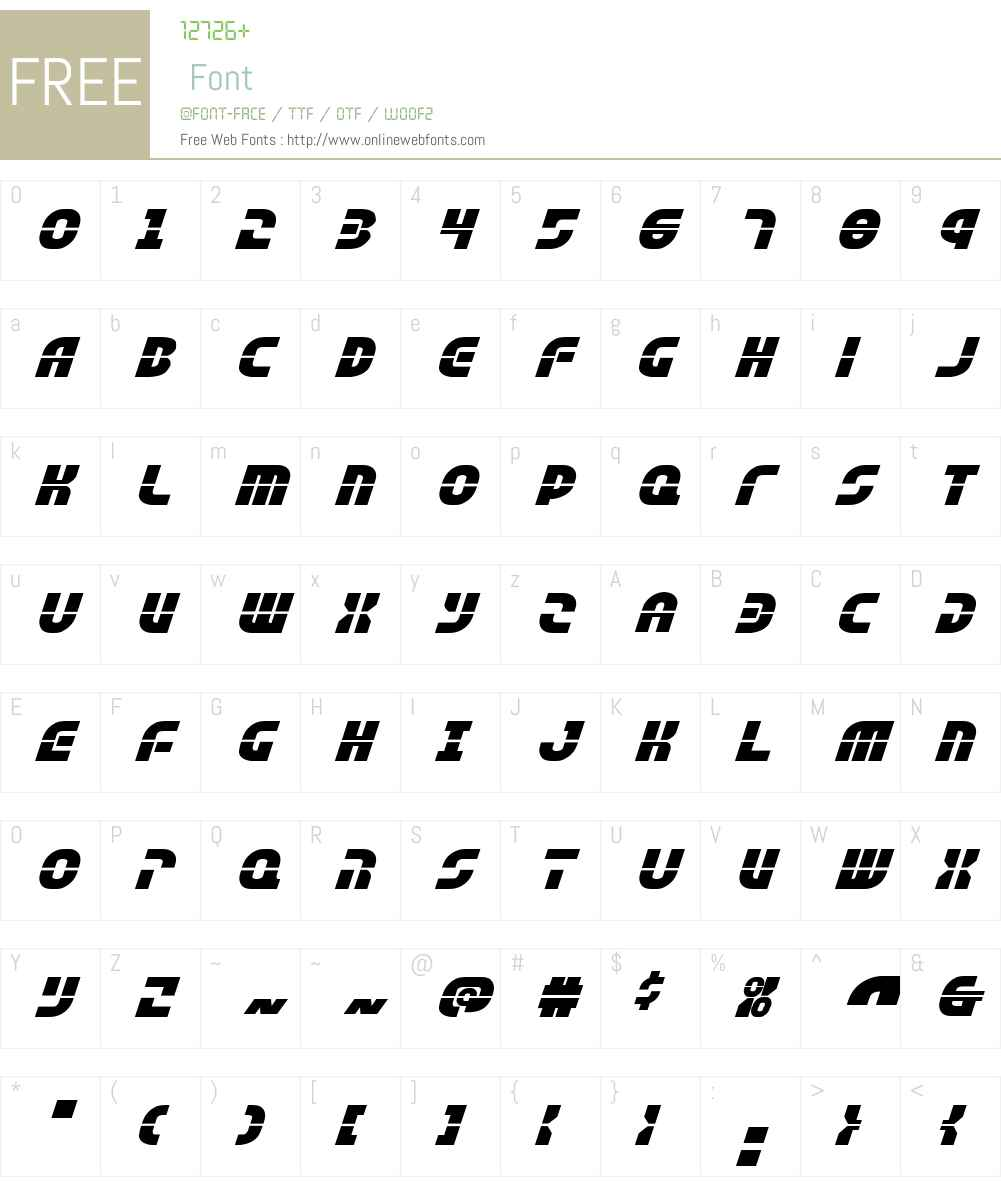 Rebel Command Expanded Italic Font Screenshots