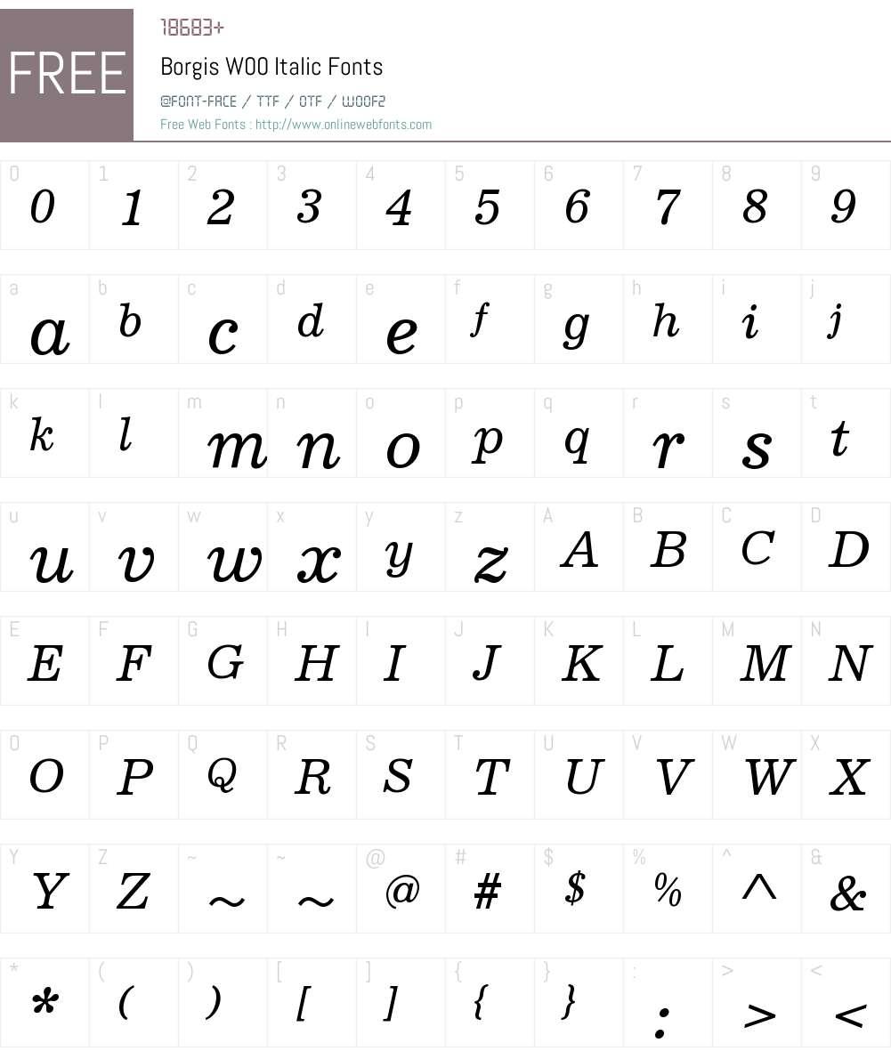 BorgisW00-Italic Font Screenshots
