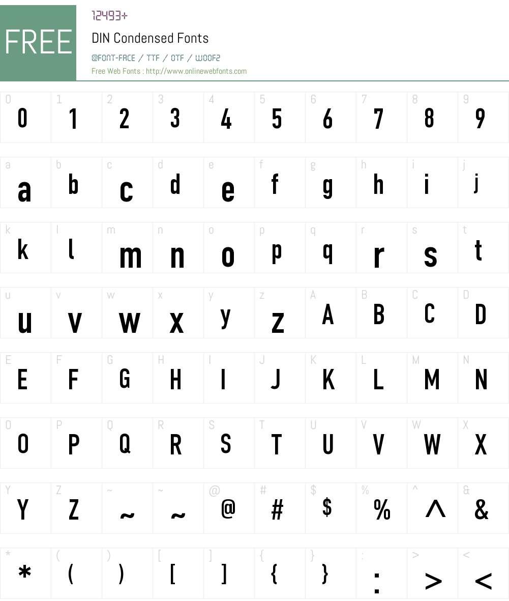 DIN Condensed Font Screenshots