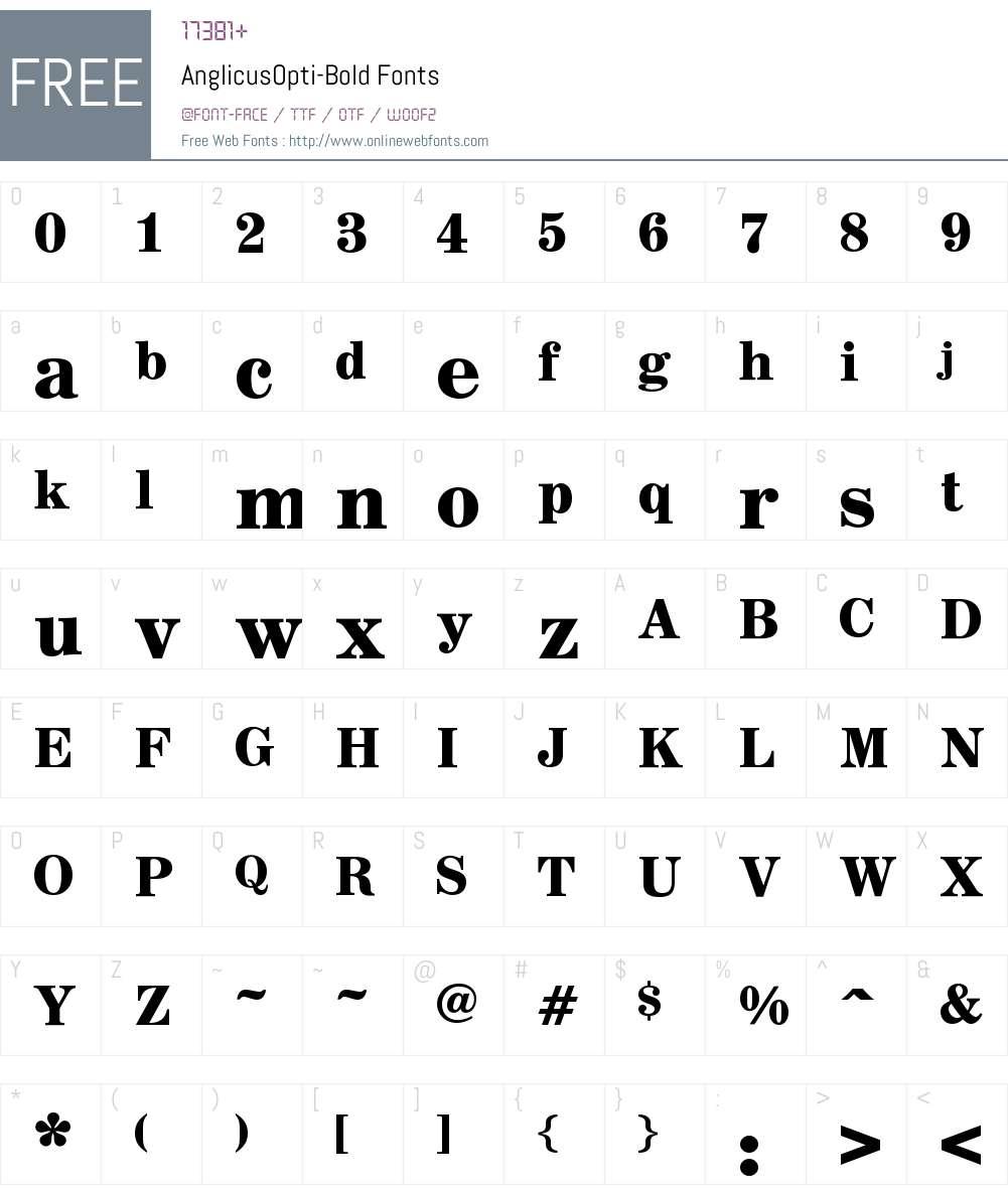 AnglicusOpti Font Screenshots