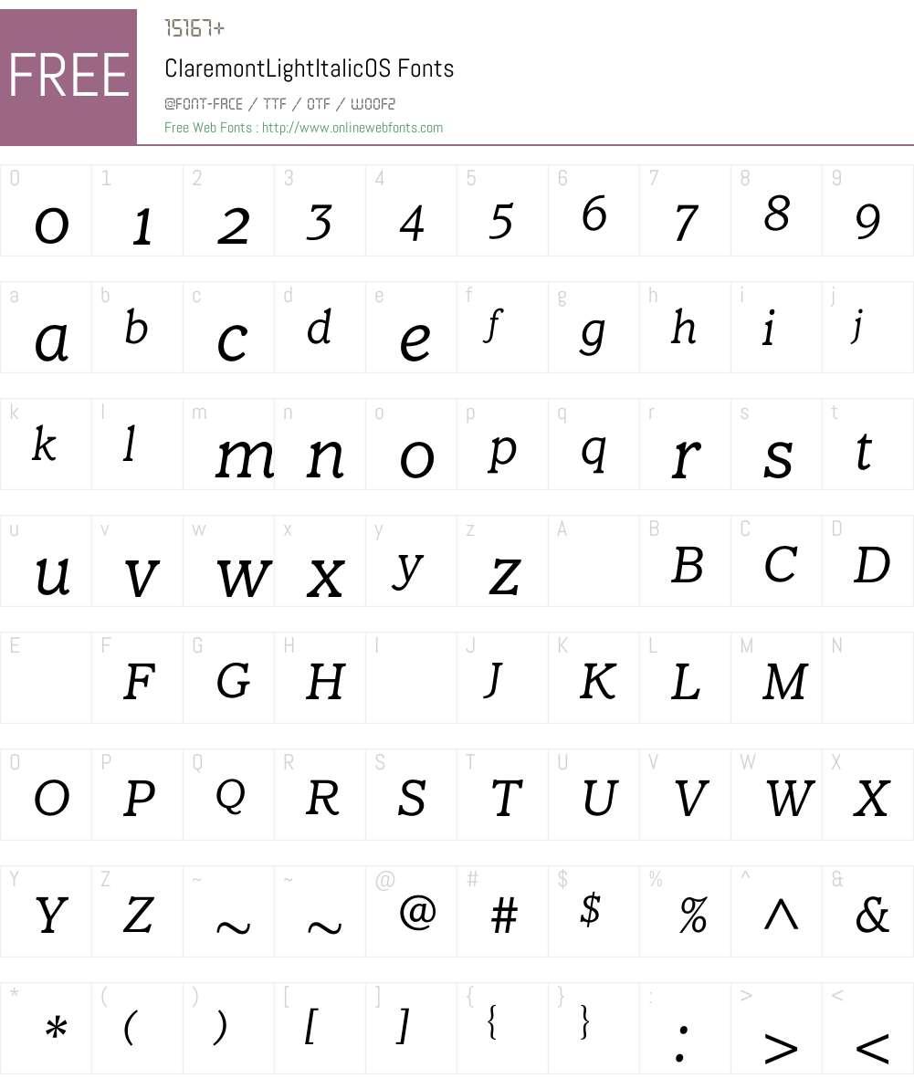 ClaremontLightItalicOS Font Screenshots