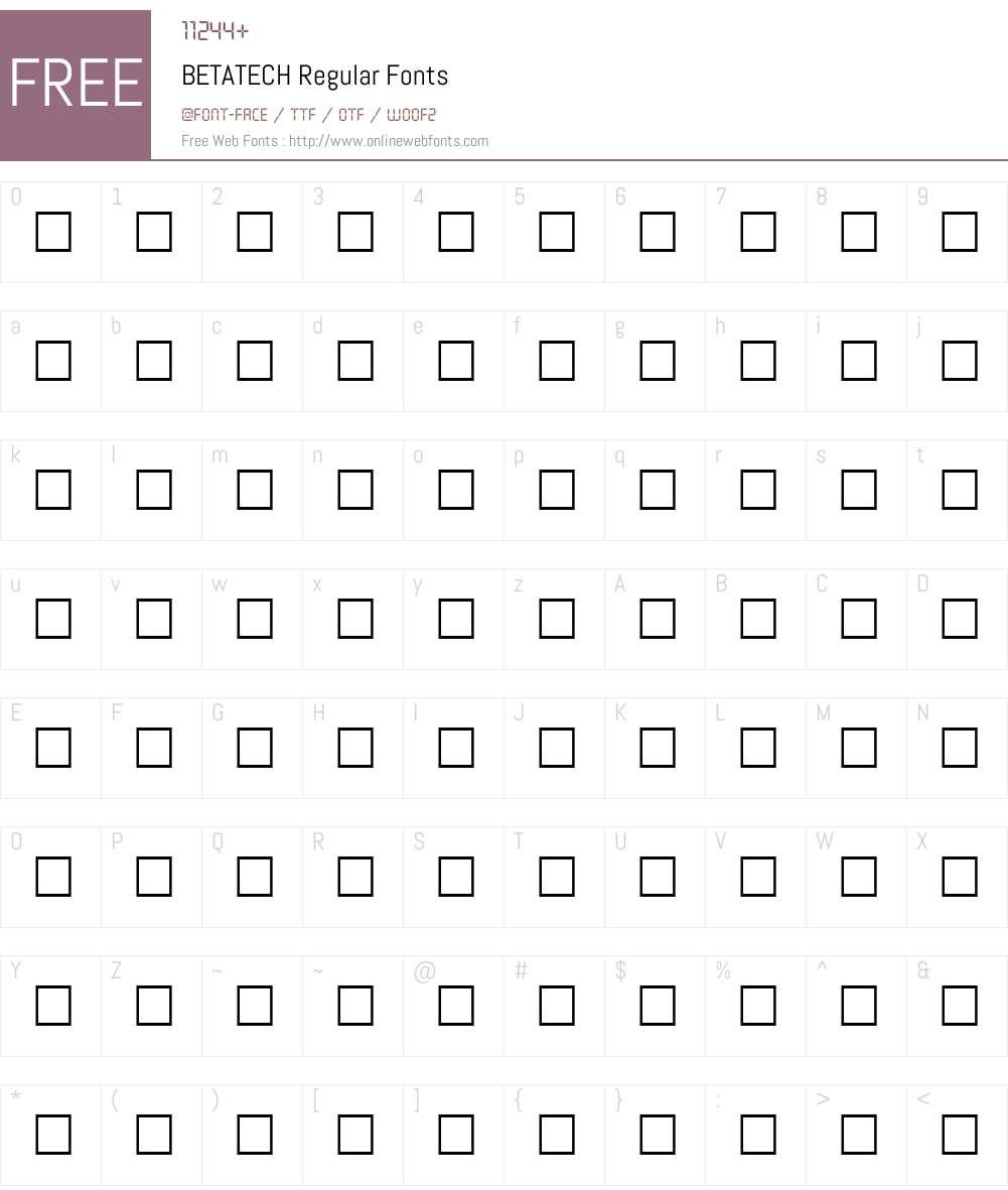 BETATECH Font Screenshots