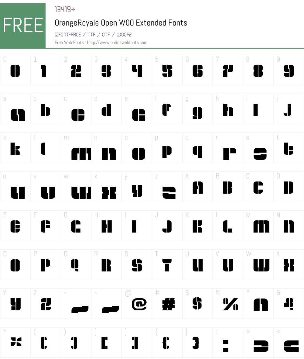 OrangeRoyaleOpenW00-Ext Font Screenshots