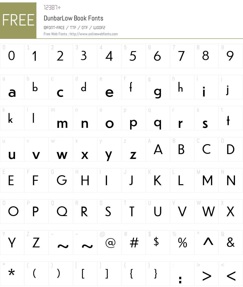 DunbarLow Book Font Screenshots