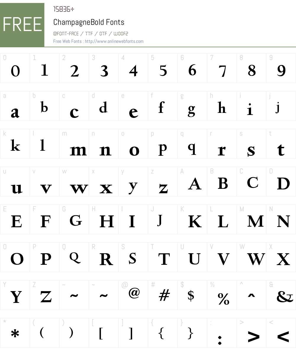 ChampagneBold Font Screenshots