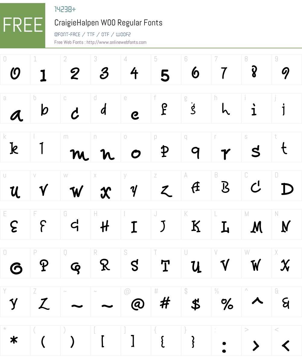 CraigieHalpenW00-Regular Font Screenshots