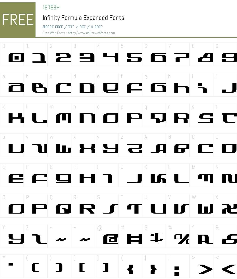 Infinity Formula Expanded Font Screenshots