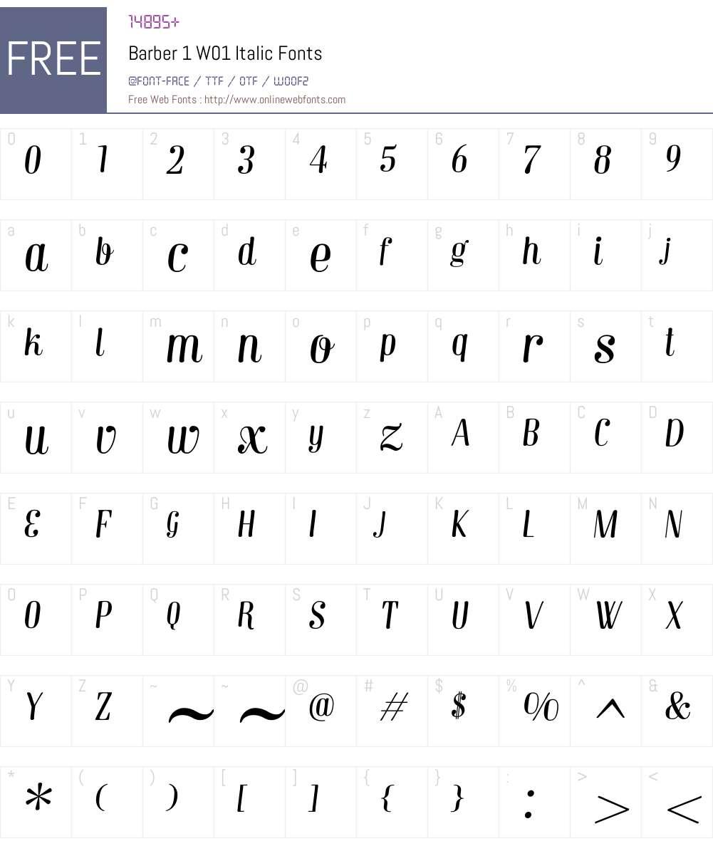 Barber1W01-Italic Font Screenshots
