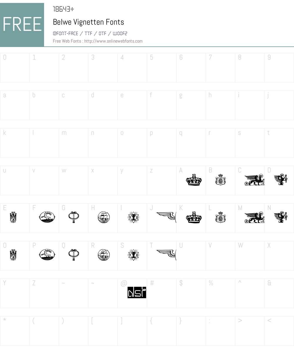 Belwe Vignetten Font Screenshots