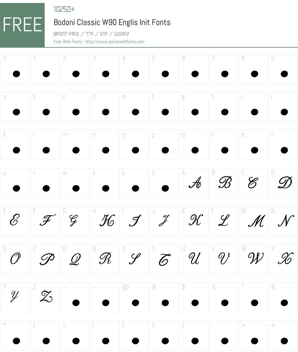BodoniClassicW90-EnglisInit Font Screenshots