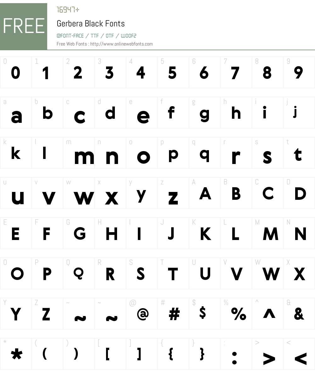 Gerbera Black Font Screenshots